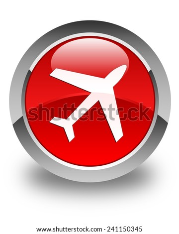 Plane icon glossy red round button