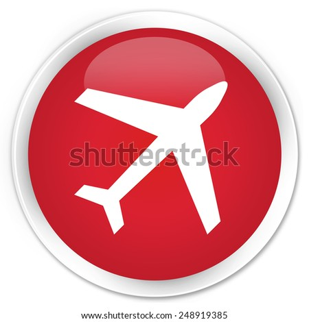 Plane icon red glossy round button