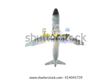 plane in the double exposure on a white background