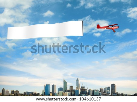 plane sky above city blank flag stock illustration 104610137