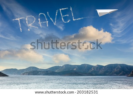 plane in the sky drawing word travel. Travel concept  - stock photo