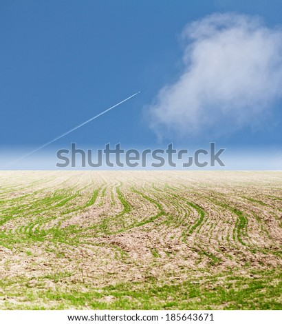 plane in the sky steppe