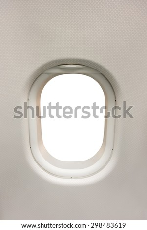 Plane interior window as template, the window area isolated on white - stock photo