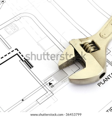 Plane of architecture. Plane of plumbing - stock photo