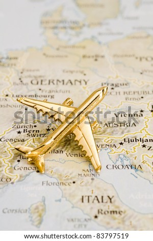 Plane of Europe, Map is Copyright Free Off a Government Website - Nationalatlas.gov - stock photo