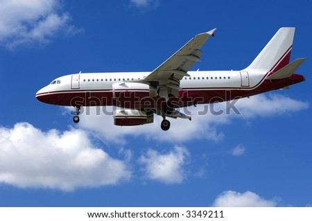Plane on blue and cloudy sky. - stock photo