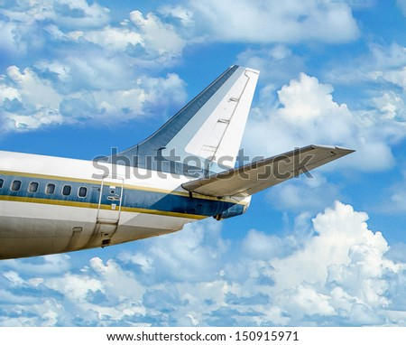 Plane on blue sky background
