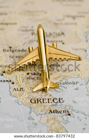 Plane Over Greece, Map is Copyright Free Off a Government Website - Nationalatlas.gov - stock photo