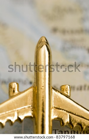 Plane Over Map, Map is Copyright Free Off a Government Website - Nationalatlas.gov - stock photo