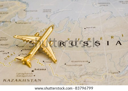 Plane Over Russia, Map is Copyright Free Off a Government Website - Nationalatlas.gov - stock photo