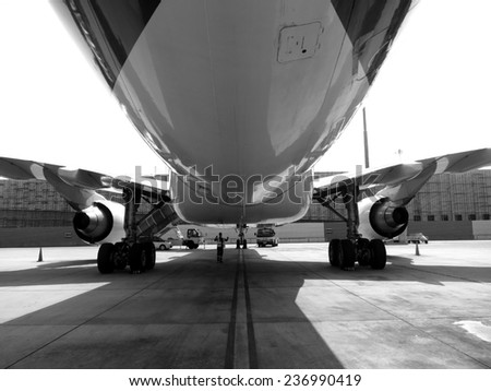 Plane parking - stock photo