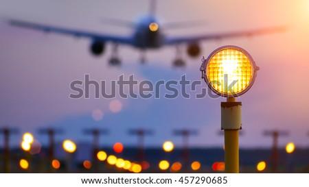 Plane passes overhead  - stock photo