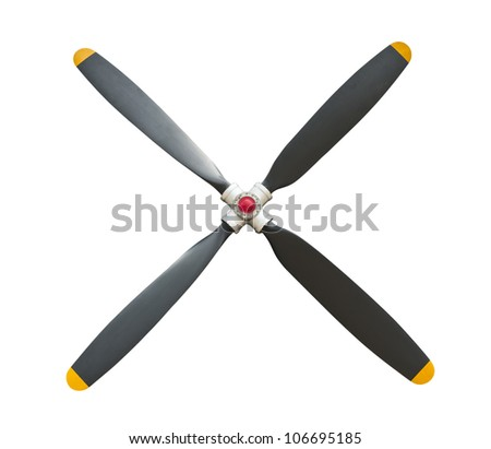 Plane propeller with 4 blades on white with clipping path