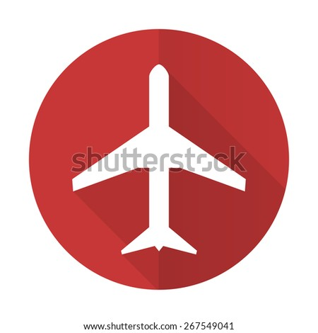 plane red flat icon airport sign  - stock photo