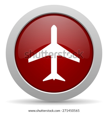 plane red glossy web icon  - stock photo