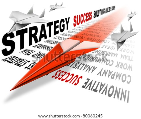 Plane red Paper on the track consists of written, a metaphor for success and leadership - stock photo