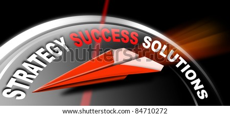 Plane red Paper with written strategy success solutions, a metaphor for success and leadership