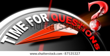 Plane red Paper with written time for questions on a black background and question mark - stock photo