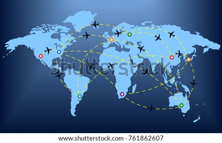 Plane routes over world map markers stock illustration 761862607 plane routes over world map with markers or map pointers travel by airplane concept gumiabroncs Images