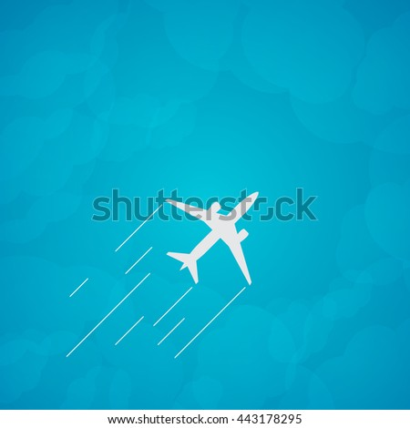 Plane silhouette against the sky with clouds. image. - stock photo