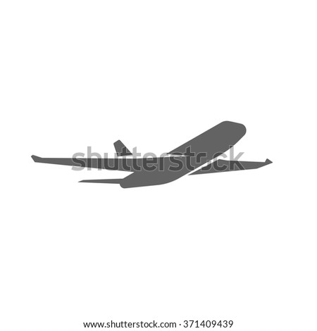 Plane taking off silhouette illustration, black airplane take off shape, jet airliner takeoff, plane departure modern design isolated on white background image