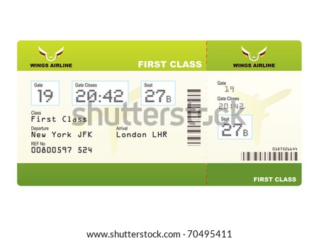 Plane ticket first class green travel with stub and gate number - stock photo