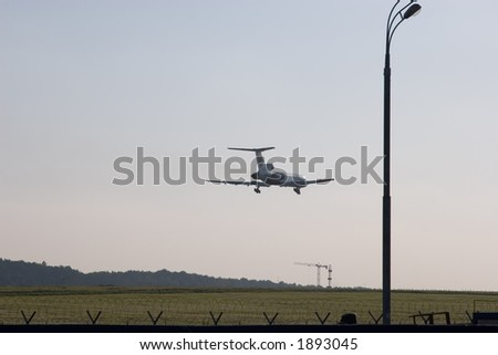 plane ( TU-154) just few seconds before landing, rear view