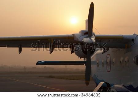 Plane waiting for flight to Lukla, Nepal - stock photo