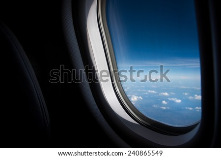 Plane Window View - stock photo
