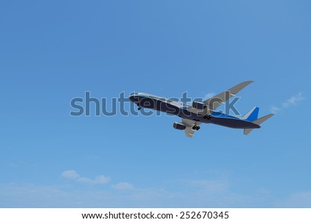 Plane with blue sky , 3D created