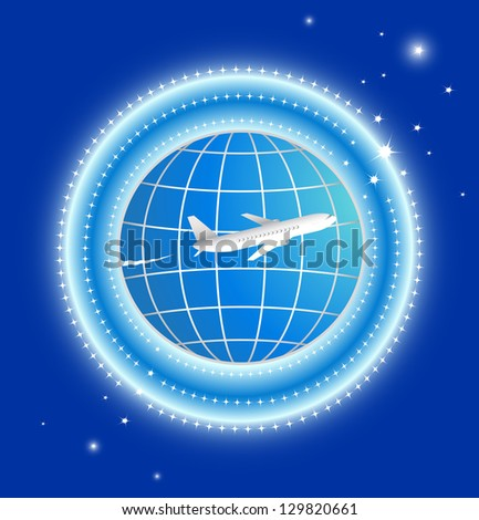 plane with earth and stars on blue background