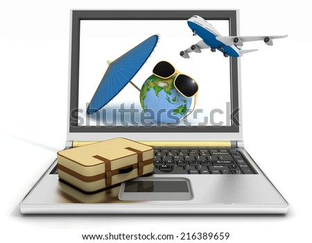 Plane with suitcase, globe and umbrella on laptop screen. Travel and vacation concept. Trendy signs - summer and journey. 3d render illustration. Elements of this image furnished by NASA.  - stock photo