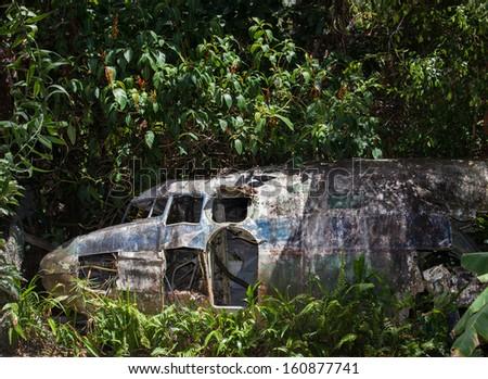 plane wreck tourist attraction - stock photo