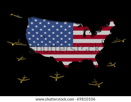 planes departing USA map flag illustration