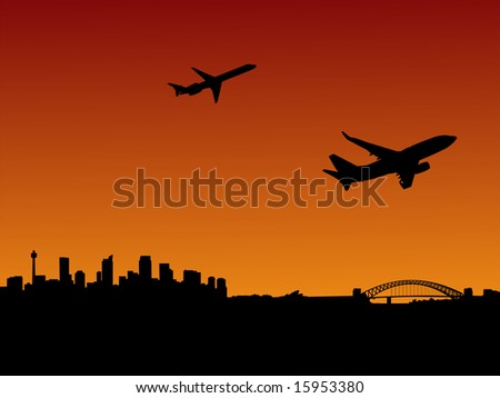 planes departing with Sydney skyline at sunset JPG - stock photo