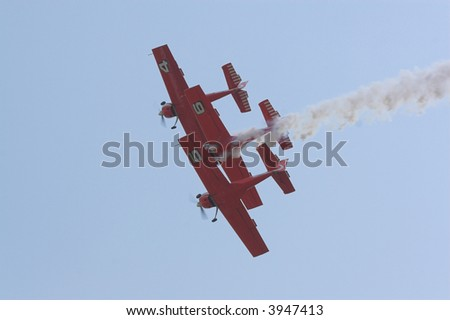 planes during performing acrobatics - stock photo