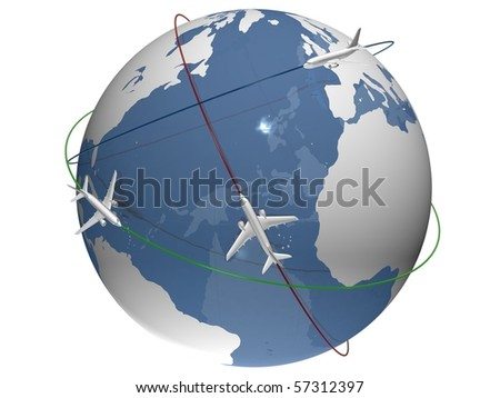 Planes flying around the blue globe - colorful routes - stock photo