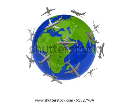 Planes flying around the globe - stock photo