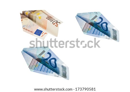 planes made of euro banknotes isolated on white background