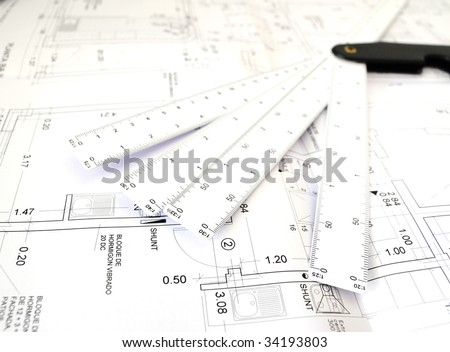 Planes of architecture on white background - stock photo