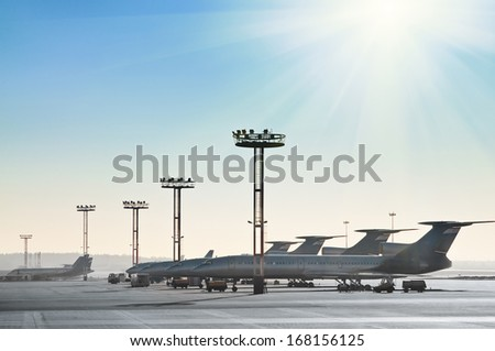 Planes on the runway  - stock photo