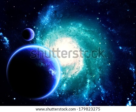 Planet and Moon Above Blue Spiral Galaxy - Elements of this Image Furnished by NASA - stock photo