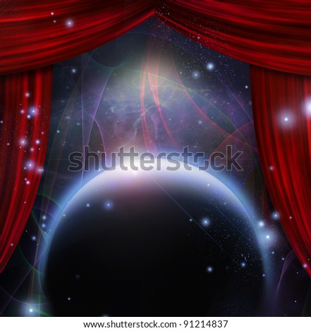 Planet and space with stage curtians - stock photo