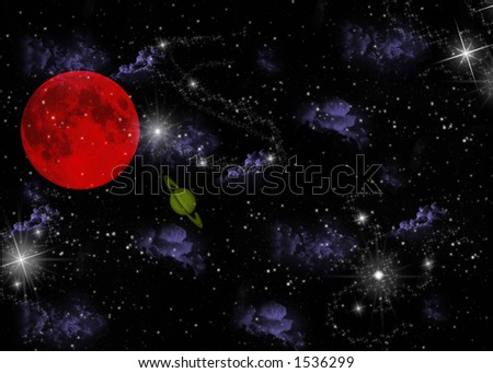 Planet and stars - stock photo