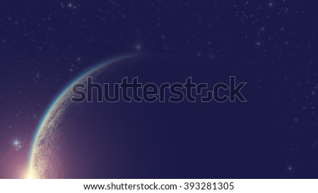 Planet and sunrise on a starry background.  - stock photo
