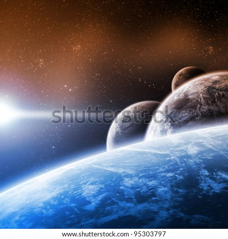 Planet apocalypse end of time - stock photo