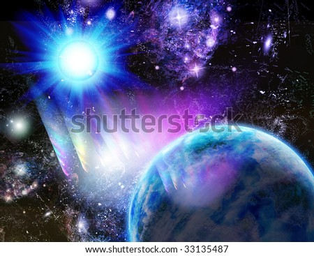 Planet at a blue sun, kind from space - stock photo