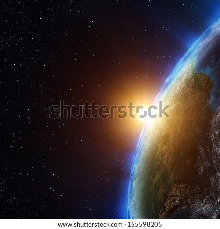 Planet atmosphere. Elements of this image furnished by NASA - stock photo