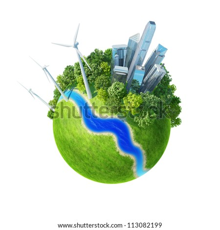 Planet. City, river, park, wind turbines, and fresh green field. Earth collection. - stock photo