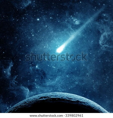 Planet, comet and galaxy. Elements of this image furnished by NASA. - stock photo